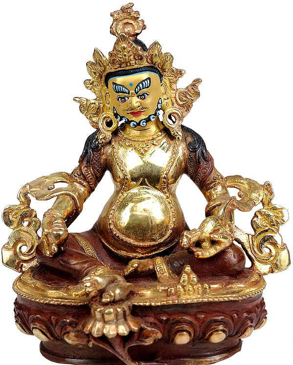 Tibetan Buddhist Deity Kubera with Jewel and Nakula (Mongoose)