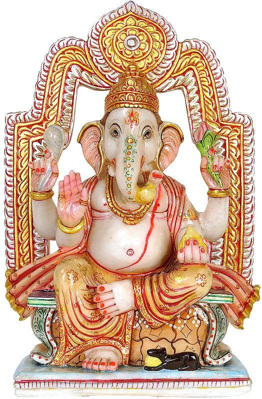 Lalitasana Ganesha Granting Abhaya (Antiquated Statue)