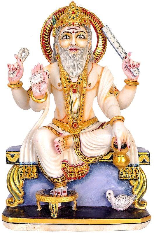 Marble Statue of Vishwakarma Ji