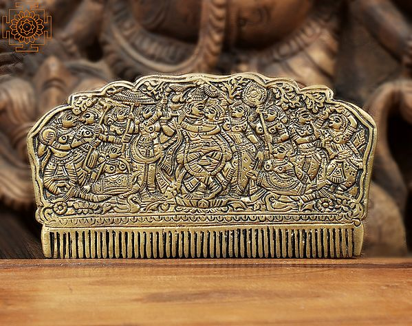 Comb with the Figures of Radha Krishna and Gopis