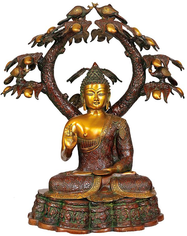 Large Size Buddha in Abhaya and Vitark-Mudra