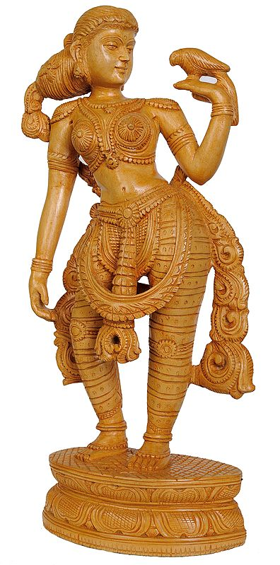Nayika (Apsara) with Her Parrot