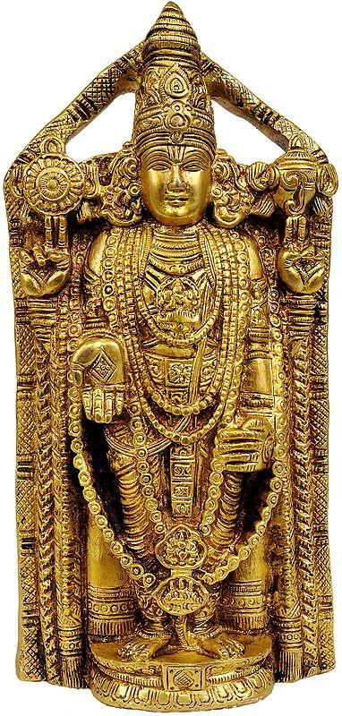 Lord Venkateshvara as Balaji at Tirupati (Flat Wall Hanging Statue)