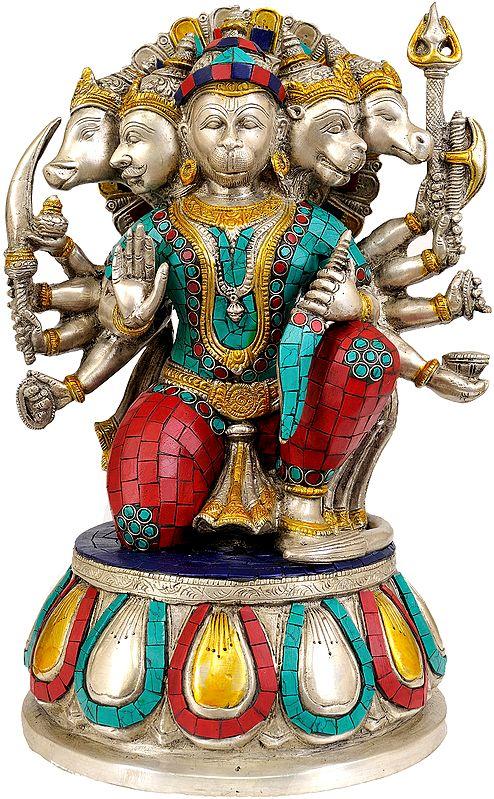Five Headed Hanuman as Eleventh Rudra (Inlay Statue)
