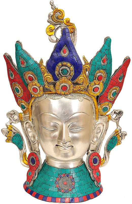 Crown Tara Head (Tibetan Buddhist Inlay Statue)