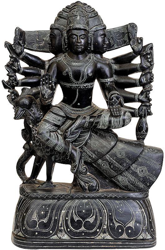 Six Headed Karttikeya (Murugan) Seated on Peacock