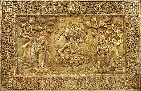 (Tibetan Buddhist Deity- Guru Padmasambhava with His Disciples (Wall Hanging Plate)