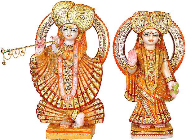 Beturbaned Radha-Krishna In Gorgeous Saffron Silks