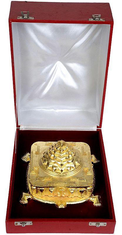 Shri Yantra on the Back of Tortoise (कूर्म पृष्ठ श्री यंत्र) with Box