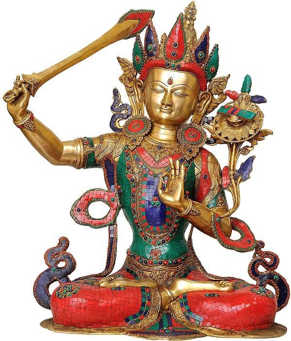 (Tibetan Buddhist Deity) Large Size Manjushri - Bodhisattva of Transcendent Wisdom