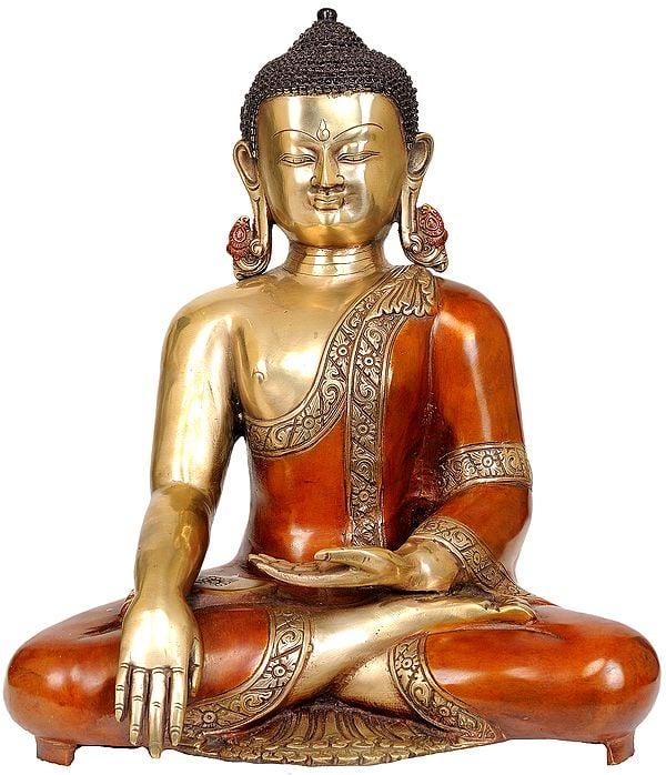 Lord Buddha in Mara Vijay Mudra Wearing an Orange Robes