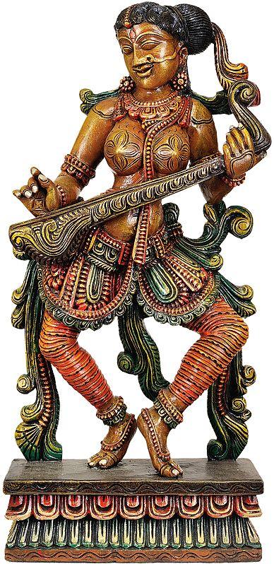 The Solitary Apsara Strumming Her Veena