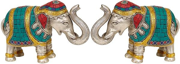 Elephant Pair with Upraised Trunks