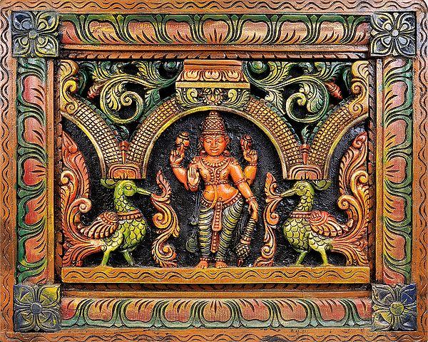 Bhagawan Vishnu (Wall Hanging Carved in Relief)