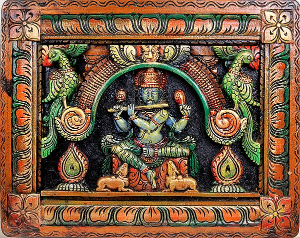 Lord Krishna (Wall Hanging Carved in Relief)