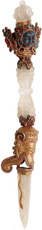 Tibetan Buddhist Mahakala Crystal Phurpa with Gems