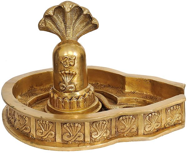 Shiva Linga with Five-Hooded Snake Crowning It