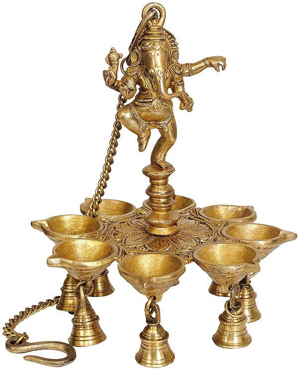 Dancing Ganesha Hanging Lamp with Bells