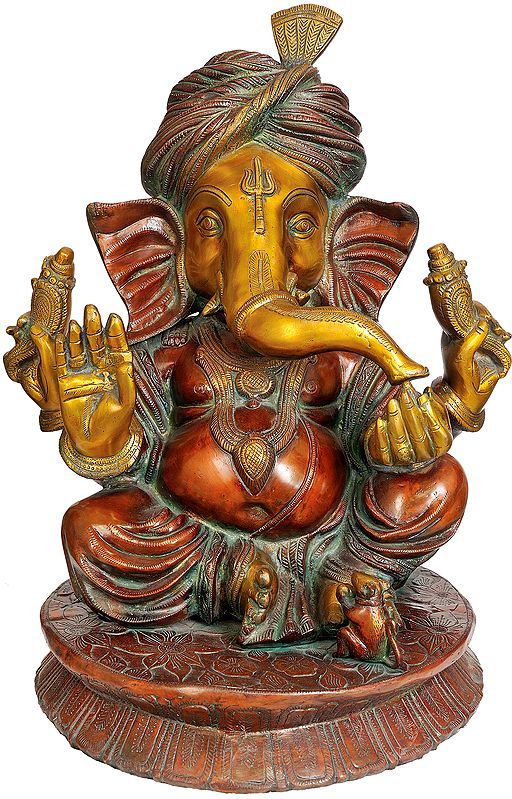 Large Size Ganesha with Turban and Trident Mark on Forehead