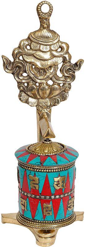 Tibetan Buddhist Prayer Wheel with Victory Banner (Ashtamangala)
