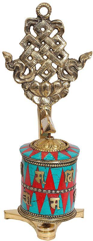 Tibetan Buddhist Prayer Wheel With Eternity Knot (Ashtamangala)
