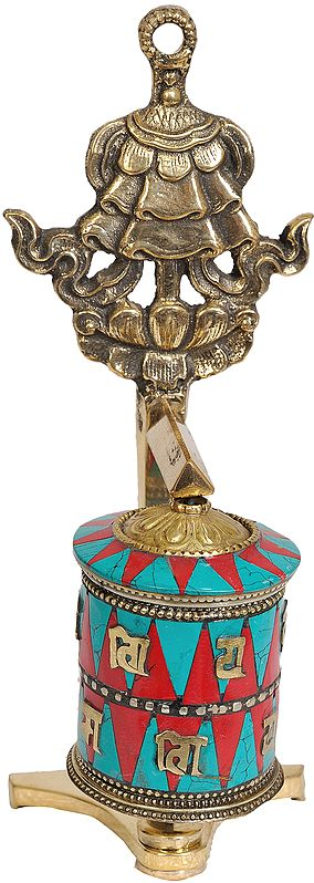 Tibetan Buddhist Prayer Wheel With Umbrella (Ashtamangala)