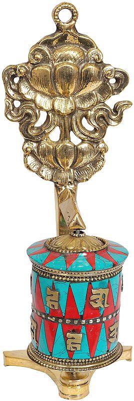 Tibetan Buddhist Prayer Wheel with Lotus (Ashtamangala)