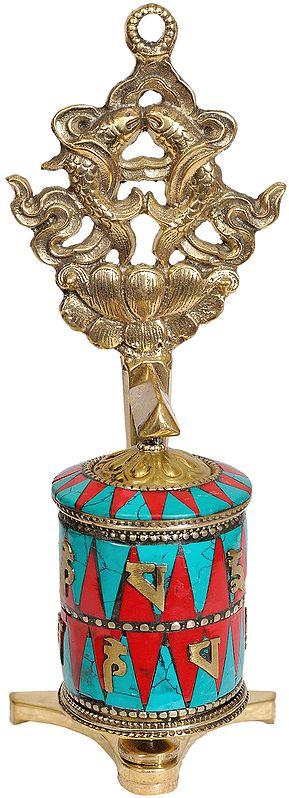 Tibetan Buddhist Prayer Wheel with The Pair of Fish (Ashtamangala)