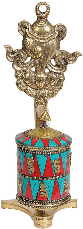 Tibetan Buddhist Prayer Wheel with Conch (Ashtamangala)