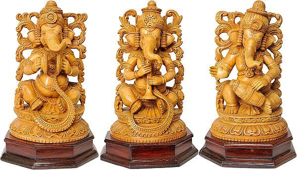 Set of Three Musical Ganeshas