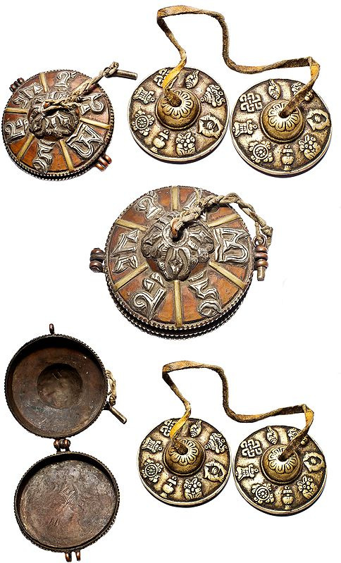 Tibetan Buddhist Om Mani Padme Hum Cymbals with Box