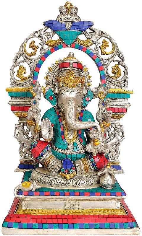 Bhagawan Ganesha on an Elaborate Throne
