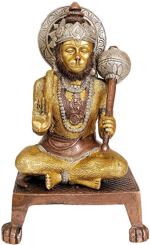 Blessing Hanuman Ji on Chowki with Legs Ending in Claws