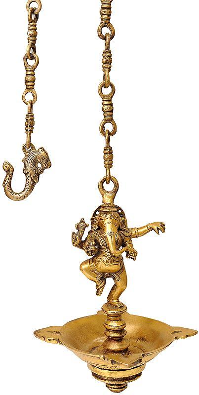 Dancing Ganesha Temple Hanging Four Wick Lamp