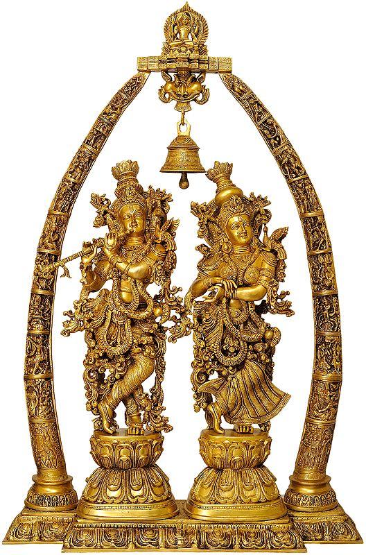 Large Size Radha Krishna with Arch Showing Krishna Leela