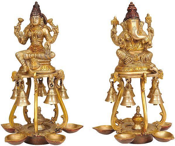 Pair of Lakshmi Ganesha Lamps with Bells