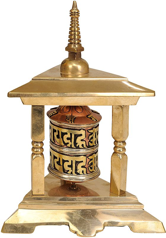 Tibetan Buddhist Prayer Wheel with Stupa Atop