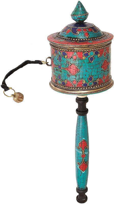 Tibetan Buddhist Big Inlay Prayer Wheel