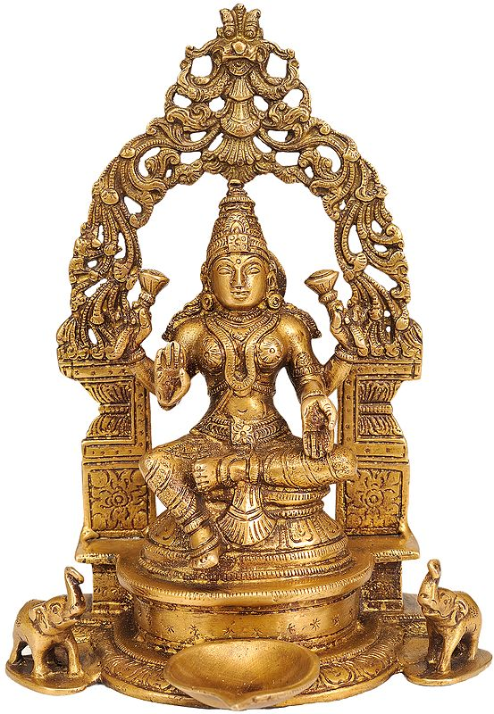 Enthroned Goddess Lakshmi with Puja Diya