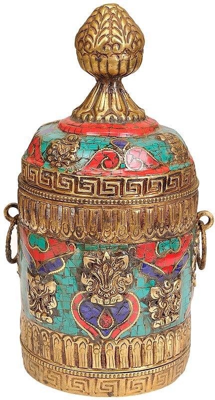 Tibetan Buddhist Ritual Box with Ashtamangala Symbols