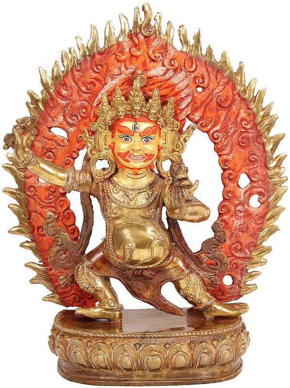 (Tibetan Buddhist Deity) Vajrapani with Fire Aureole