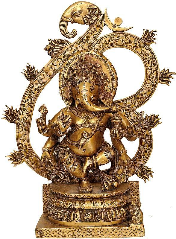 Six-armed Ganesha Enshrining the Cosmic Syllable AUM