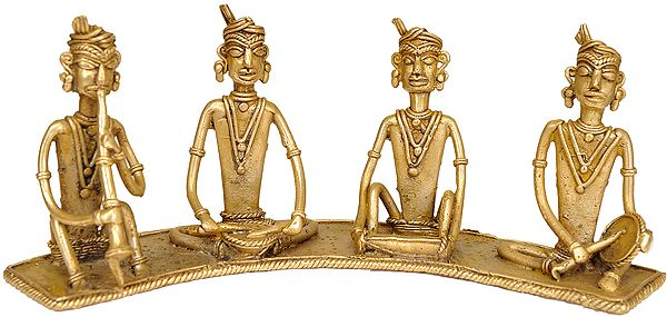 Set of Four Tribal Musicians (Folk Statue from Bastar)