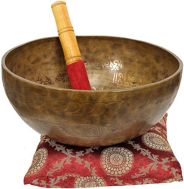 Tibetan Buddhist Singing Bowl of Wisdom (Inside Image of Manjushri)