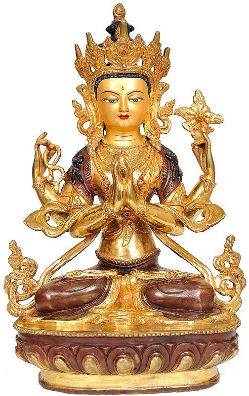 Tibetan Buddhist Deity- Chenrezig (Four Armed Avalokiteshvara)