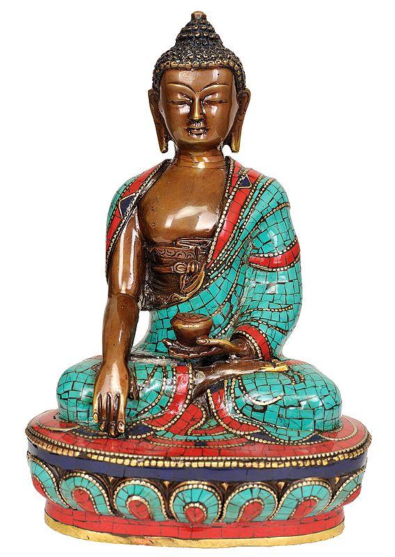 Tibetan Buddhist Lord Buddha in Bhumisparsha Mudra - Made in Nepal