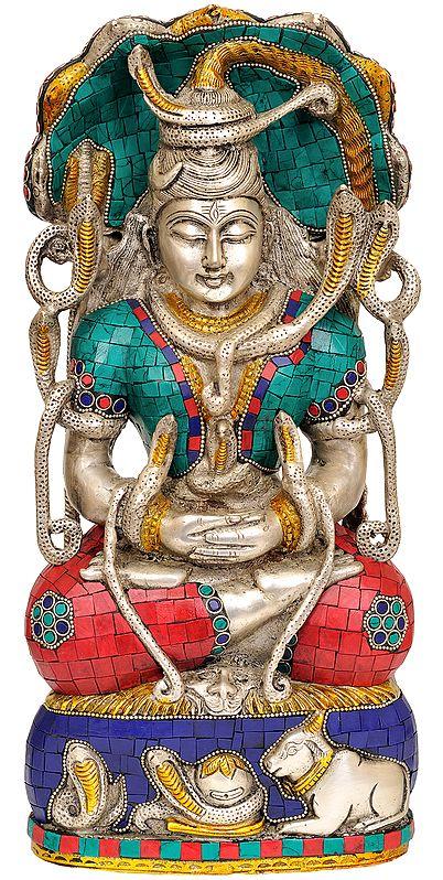 Meditating Shiva Under Serpent (Inlay Statue)