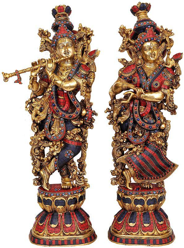 Radha Krishna (A Pair of Inlay Statues)
