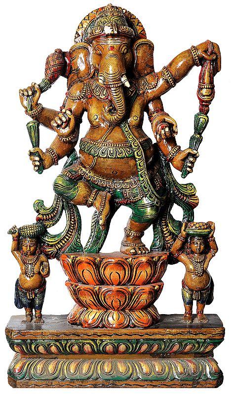 Dancing Ganesha with Two Shivagan
