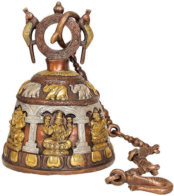 Ganesha Lakshmi and Saraswati (Temple Hanging Bell)